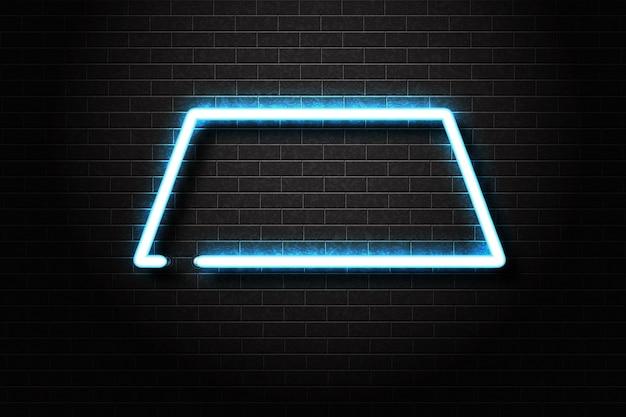Реалистичная изолированная неоновая вывеска рамки для шаблона приглашения и макета пространства копии