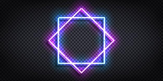 Реалистичный изолированный неоновый знак рамки для шаблона и макета.