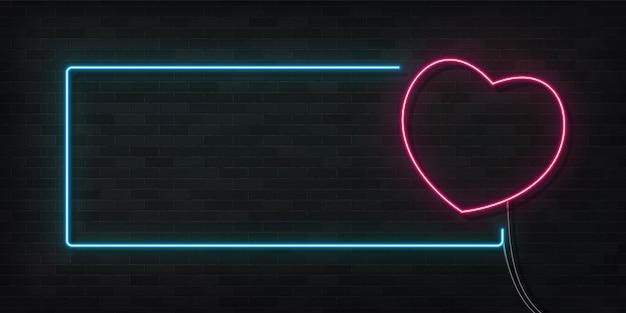 심장 프레임의 현실적인 격리 된 네온 사인입니다. 해피 발렌타인 데이의 개념입니다.