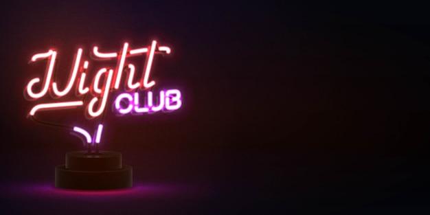 Реалистичная изолированная неоновая вывеска типографии ночного клуба