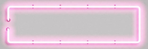 ピンクの長方形のフレームの現実的な孤立したネオンサイン
