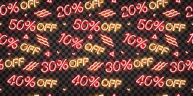 セール割引ロゴとシームレスなパターンの現実的な孤立したネオンサイン