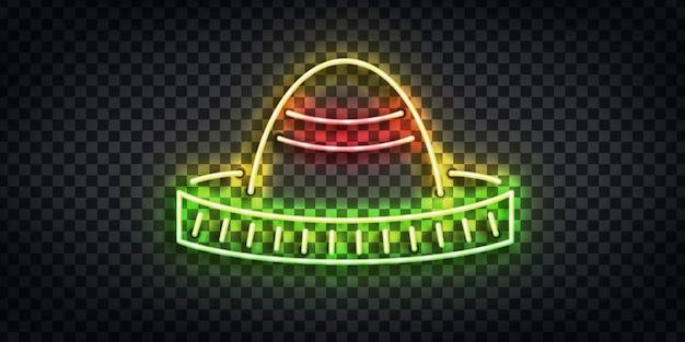 템플릿 장식 및 투명 배경에 취재 초대에 대 한 솜브레로 로고의 현실적인 격리 된 네온 사인. cinco de mayo의 개념.