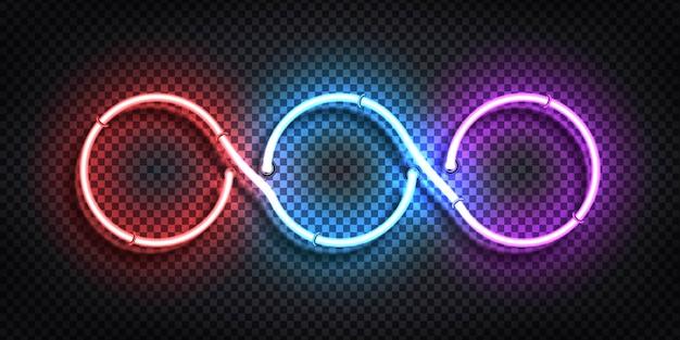 3つの円フレームの現実的な孤立したネオンサイン