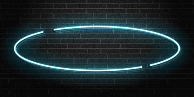 Realistic isolated neon sign of oval frame