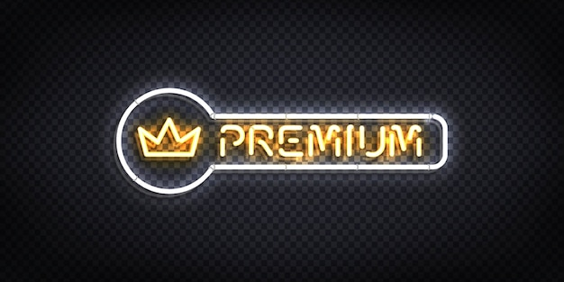 Realistic isolated neon sign of premium with a crown logo.