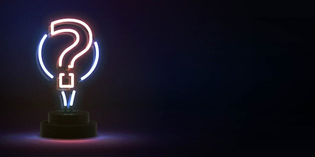 Realistic isolated neon sign of question mark