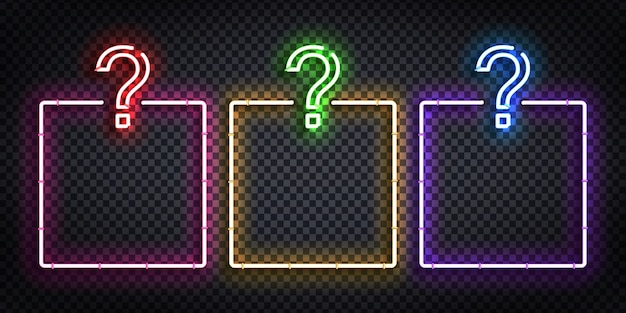 Realistic isolated neon sign of quiz frames logo for template decoration and covering on the transparent background. concept of trivia night and question.