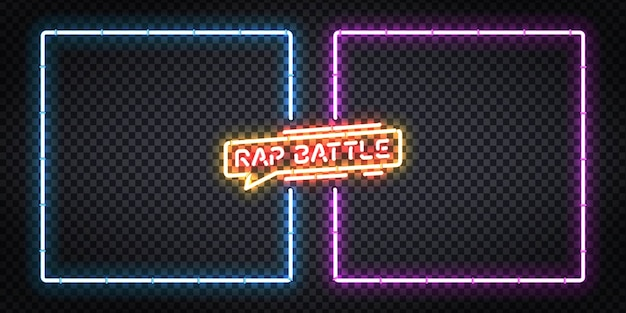 Realistic isolated neon sign of rap battle frames