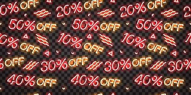Realistic isolated neon sign of seamless pattern with sale discounts logo