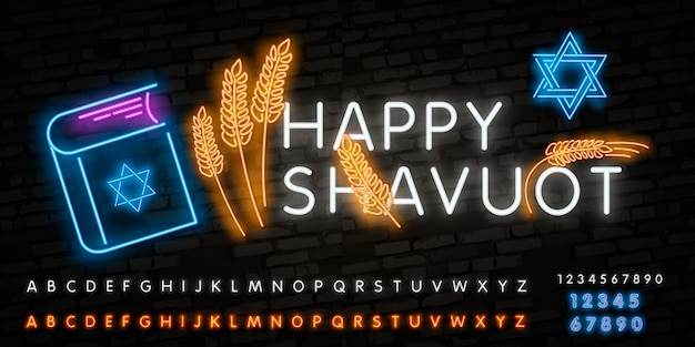 Realistic isolated neon sign of shavuot jewish holiday logo
