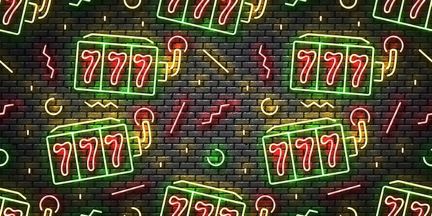 Realistic isolated neon sign of slot machines seamless pattern on a wall background.
