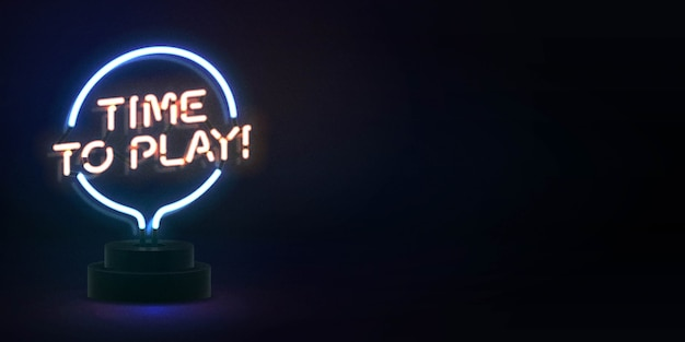 Realistic isolated neon sign of time to play logo for template decoration and covering . concept of gaming.