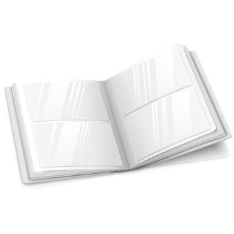 白い空白のベクトルで開かれた現実的な開いたフォトアルバム