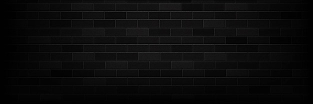 Realistic isolated panoramic black brick wall background for template and layout decoration