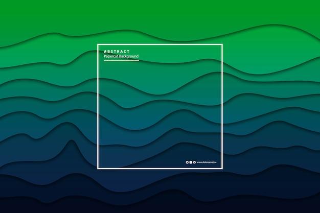 현실적인 격리 된 papercut 녹색 그라데이션 레이어 배경