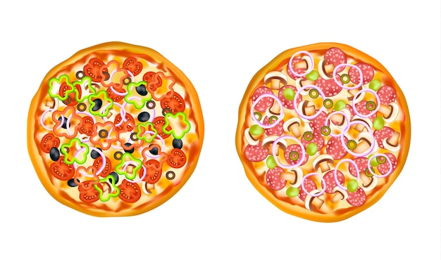 Set pizza isolato realistico