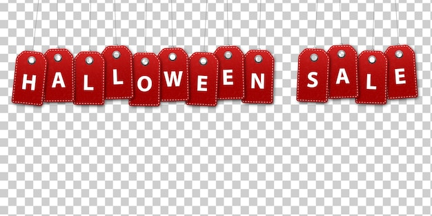 Realistic isolated price tags of halloween sale