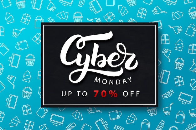 Realistic isolated promo banner for cyber monday.