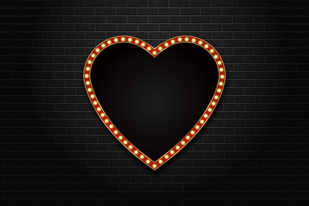Realistic isolated retro heart neon marquee billboard for decoration and covering on the wall background. concept of cinema and broadway.