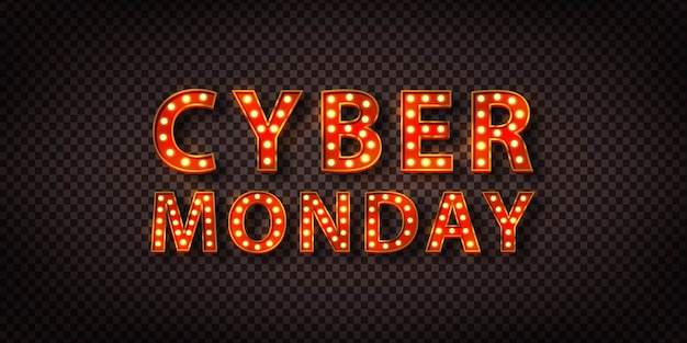 Realistic isolated retro marquee billboard with electric light lamps of cyber monday