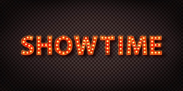 Realistic isolated retro marquee text with electric light lamps of showtime
