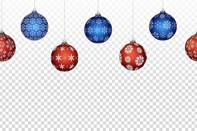 Реалистичные изолированные бесшовные рождественские шары граница для оформления шаблона и приглашения, покрывающего на прозрачном фоне