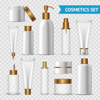 Realistic and isolated transparent cosmetics icon set with gold batchers on transparent background
