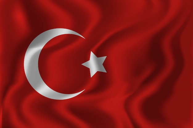 Realistic isolated waving turkish flag background for decoration and covering. concept of happy zafer bayrami, victory day in turkey.