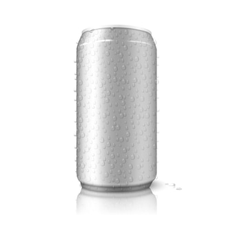 Realistic isolated on white background with reflection blank aluminium can with water drops