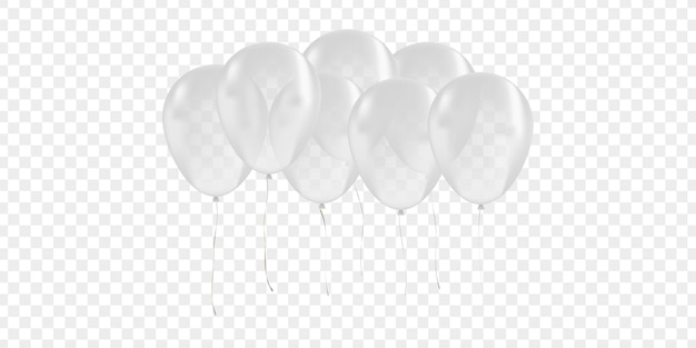 Realistic isolated white balloon for celebration and decoration on the transparent background. concept of happy birthday, anniversary and wedding.