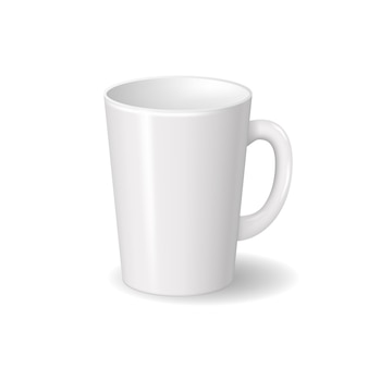 Realistic isolated white ceramic cup with shadows. template for brand design
