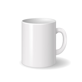Realistic isolated white ceramic cup with shadows.