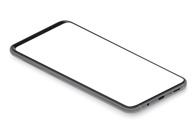 Realistic isometric black frameless smartphone  perspective view  illustration