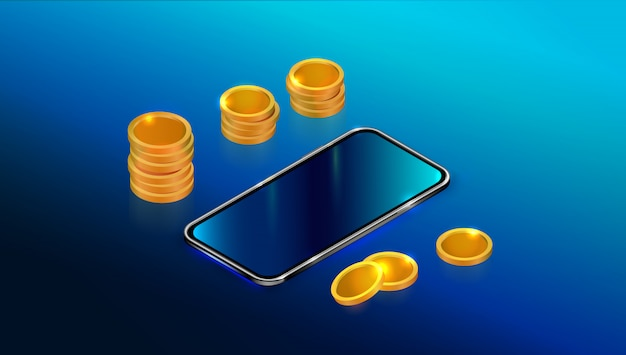 Realistic isometric black smartphone with blank touch screen and coins stack.