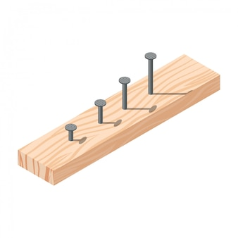 Realistic isometric rasped wooden timber plank for building construction or floring with nails.