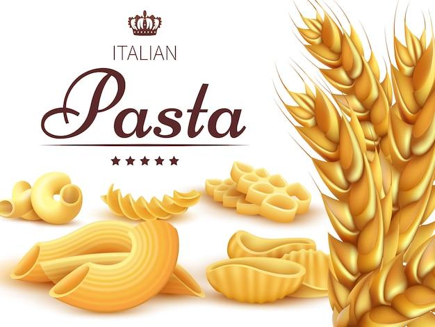Realistic italian pasta and wheat