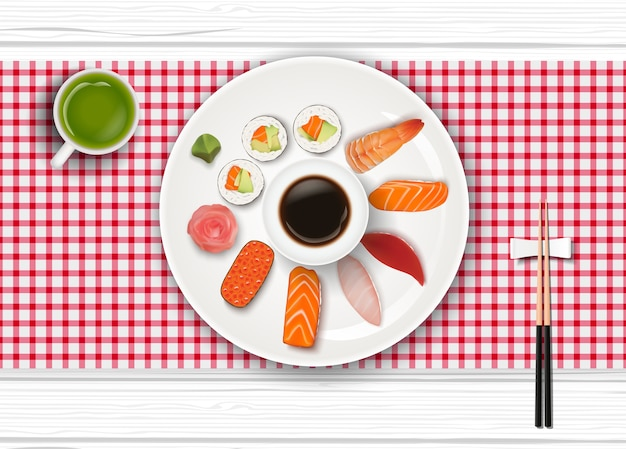 Realistic japanese sushi and green tea