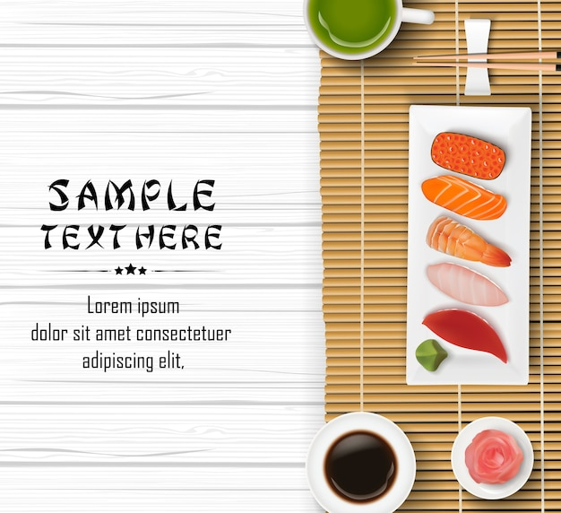 Realistic japanese sushi on wooden table background