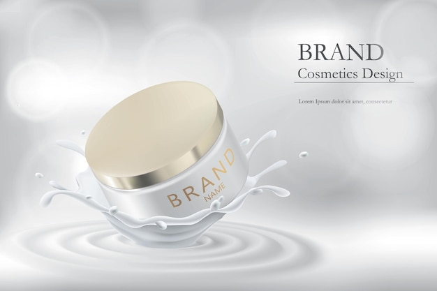 Realistic jar of cream in a splash of milk. cosmetic product packaging