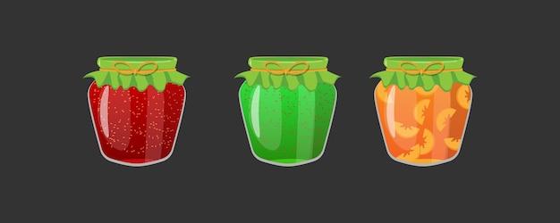 Realistic jars of fruity jams Premium Vector