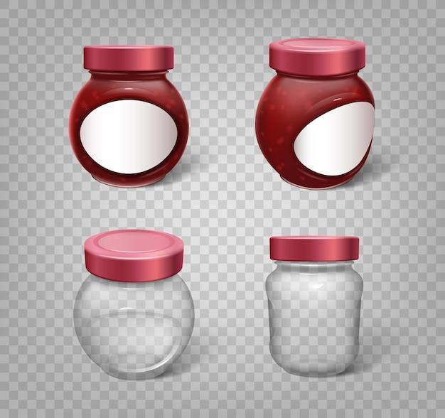 サプリメント、保存、または食品の保管のために設定された現実的な瓶