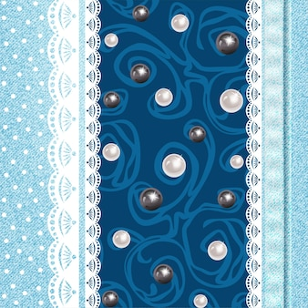 Realistic jeans background pattern and lace.