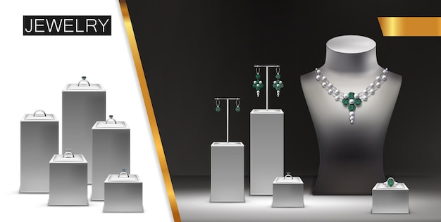 Realistic jewelry advertising concept with silver necklace earrings rings with diamonds gems jewels on display stands and mannequin illustration