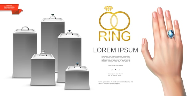 Realistic jewelry colorful template of silver rings with diamonds jewels on female finger and display stands  illustration