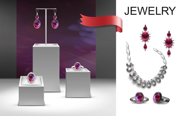 Composizione di gioielli realistici con orecchini, spilla, anelli con gioielli su supporti e illustrazione di collana in argento