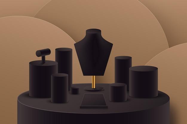 Realistic jewelry showcase podium
