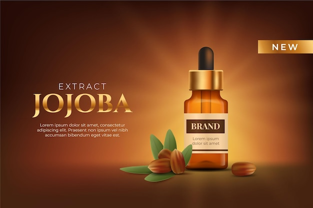 Realistic jojoba oil commercial template