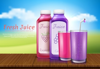 Realistic juice bottles, glass. Cup, plastic transparent containers for raspberry juice