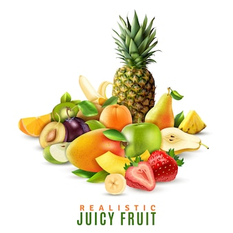 Realistic juicy fruit illustration